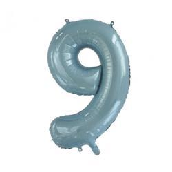 Number 9 Light Blue 86cm (34 inch) Decrotex Foil Balloon