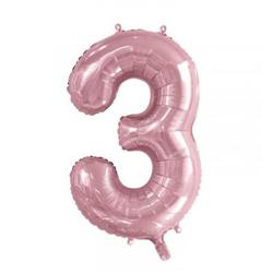 Number 3 Light Pink 86cm (34 inch) Decrotex Foil Balloon