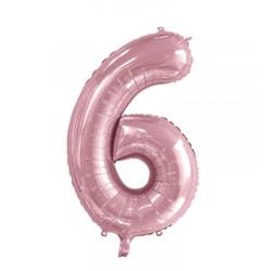 Number 6 Light Pink 86cm (34 inch) Decrotex Foil Balloon