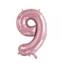 Number 9 Light Pink 86cm (34 inch) Decrotex Foil Balloon