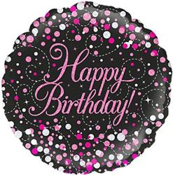 Oaktree Sparkling Fizz Birthday Black and Pink 45cm Foil