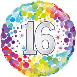 Oaktree 16th Colourful Confetti Birthday 45cm Foil
