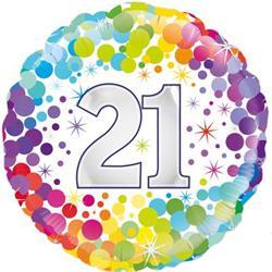 Oaktree 21st  Colourful Confetti Birthday 45cm Foil