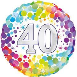 Oaktree 40th  Colourful Confetti Birthday 45cm Foil