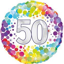 Oaktree 50th  Colourful Confetti Birthday 45cm Foil