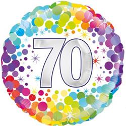 Oaktree 70th  Colourful Confetti Birthday 45cm Foil