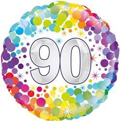 Oaktree 90th  Colourful Confetti Birthday 45cm Foil