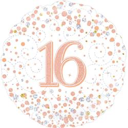 Oaktree 16th Sparkling Fizz Birthday White and Rose Gold 45cm Foil