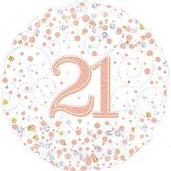 Oaktree 21st Sparkling Fizz Birthday White and Rose Gold 45cm Foil