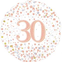 Oaktree 30th Sparkling Fizz Birthday White and Rose Gold 45cm Foil