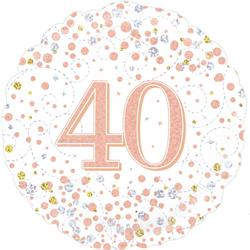 Oaktree 40th Sparkling Fizz Birthday White and Rose Gold 45cm Foil