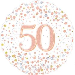 Oaktree 50th Sparkling Fizz Birthday White and Rose Gold 45cm Foil