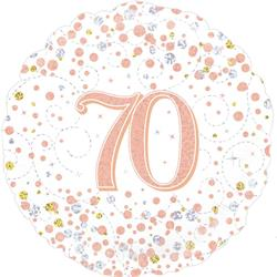 Oaktree 70th Sparkling Fizz Birthday White and Rose Gold 45cm Foil