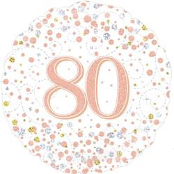 Oaktree 80th Sparkling Fizz Birthday White and Rose Gold 45cm Foil