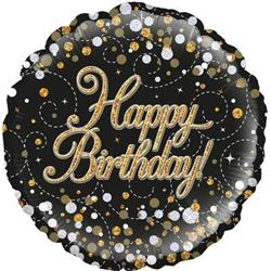 Oaktree Sparkling Fizz Birthday Black and Gold 45cm Foil