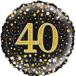 Oaktree 40th Sparkling Fizz Birthday Black and Gold 45cm Foil