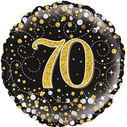 Oaktree 70th Sparkling Fizz Birthday Black and Gold 45cm Foil