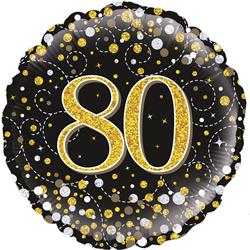 Oaktree 80th Sparkling Fizz Birthday Black and Gold 45cm Foil