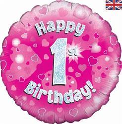 Oaktree 1st Birthday Pink 45cm Foil.