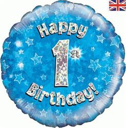 Oaktree Happy 1st Birthday Blue Holographic 45cm Foil.