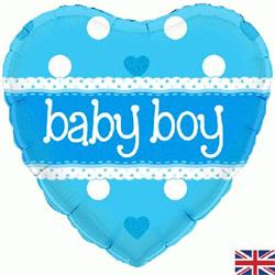 Oaktree Baby Boy Heart Holographic 45cm Foil
