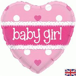 Oaktree Baby Girl Heart Holographic 45cm Foil