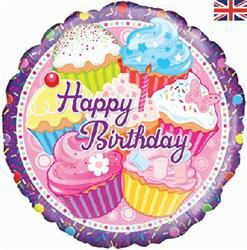 Oaktree Cupcake Birthday - Holographic 45cm Foil.