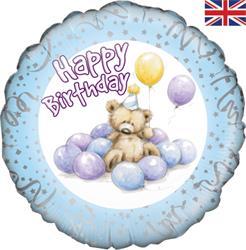 Oaktree Cute Bear Happy Birthday Blue 45cm Foil
