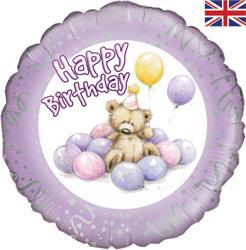 Oaktree Cute Bear Happy Birthday Lilac 45cm Foil