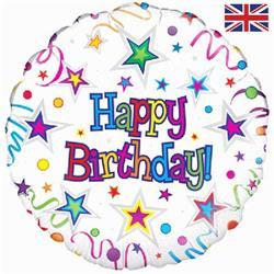 Oaktree Happy Birthday Ribbons & Stars 45cm Foil