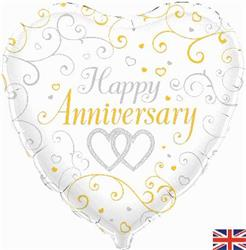 Oaktree Happy Anniversary Heart 45cm Foil
