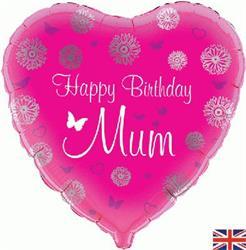Oaktree Happy Birthday Mum Heart 45cm Foil