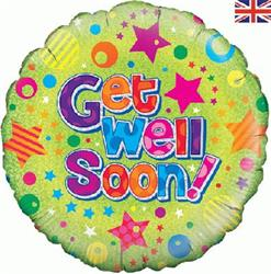 Oaktree Get Well Stars and Dots Holographic 45cm Foil