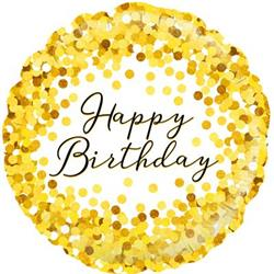Oaktree Gold Sparkle Birthday Holographic 45cm Foil