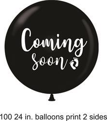 "Latex 60cm -24"" ""Coming Soon"" Gender Reveal Black with White Print bag 2"