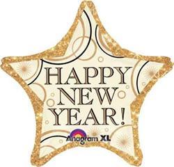 Happy New Year Gold Star 45cm