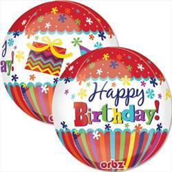 Orbz Happy Birthday Stripes and Dots 43cm x 45cm