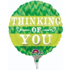 10cm  Green Chevron Thinking Of You Foil balloon 10cm.