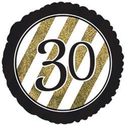 30 Black and Gold Stripe 45cm Foil