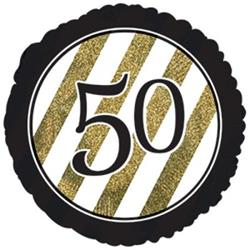 50 Black and Gold Stripe 45cm Foil
