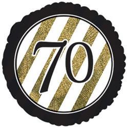 70 Black and Gold Stripe 45cm Foil