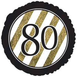 80 Black and Gold Stripe 45cm Foil