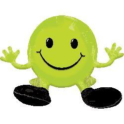 Sitting Smiling Face Lime Green Multi Balloon 48cm x 33cm