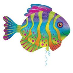 Colourful Fish Holographic Sprkle SuperShape 83cm x 58cm