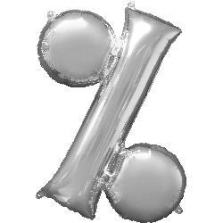 Symbol % Silver 76cm x 91cm