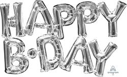 SupeShape Phrase HAPPY  BDAY Silver 76cm x 48cm