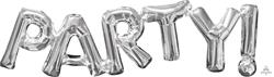 SuperShape Phrase PARTY Silver 83cm x 22cm