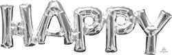 SuperShape Phrase HAPPY Silver 66cm x 25cm