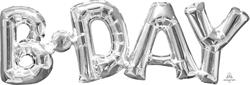 SuperShape Phrase BDAY Silver 66cm  x 22cm