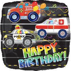 Happy Birthday Rescue Vehicles 23cm
